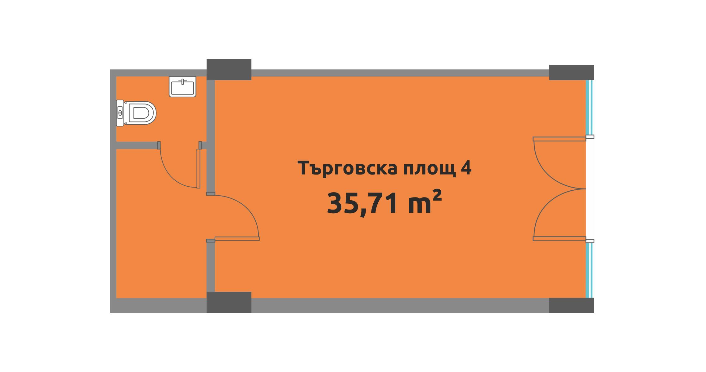 Скица на търговското помещение 4 в зк Перла